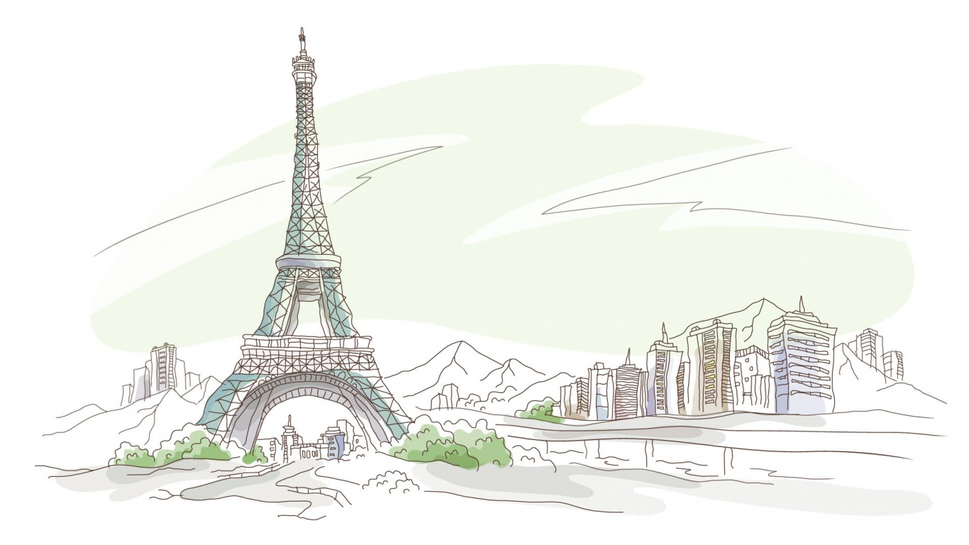 Drawn wallpaper high definition 1366x768 drawing hd paris pen