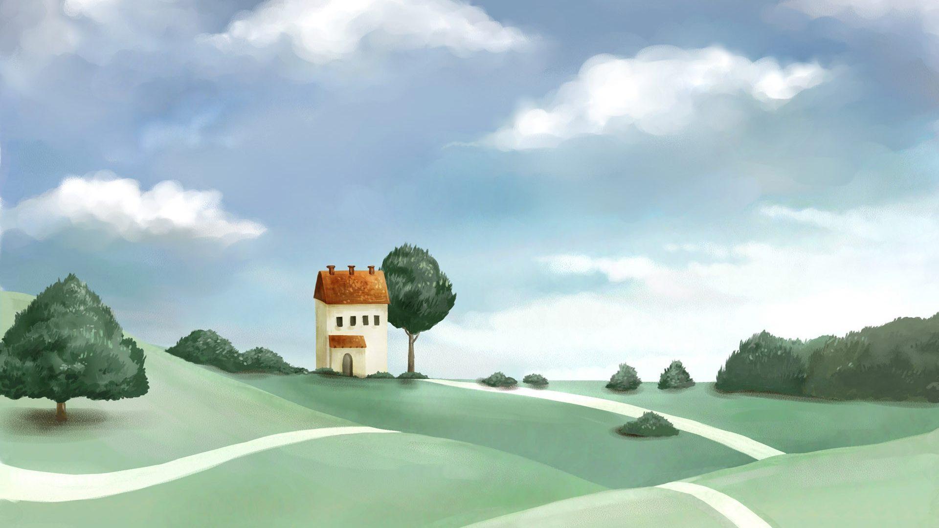 Drawn wallpaper house Art Night Drawing Cloud 16:9