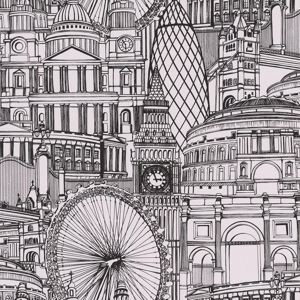 Drawn wallpaper illustrated Graham Londinium Wallpaper Brown Drawing