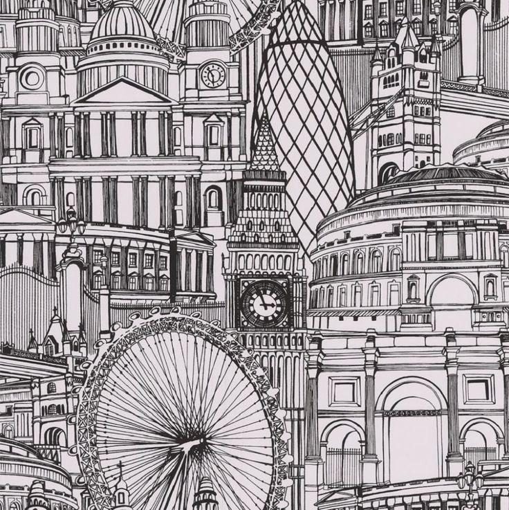 Drawn wallpaper illustrated GRAHAM WALLPAPER LONDON CITYSCAPE decorating