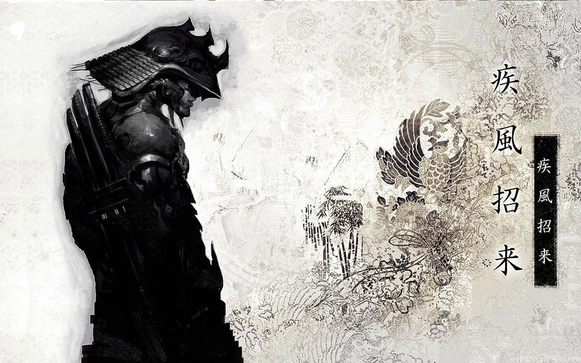 Drawn samurai desktop background Drawn figure Image  Samurai