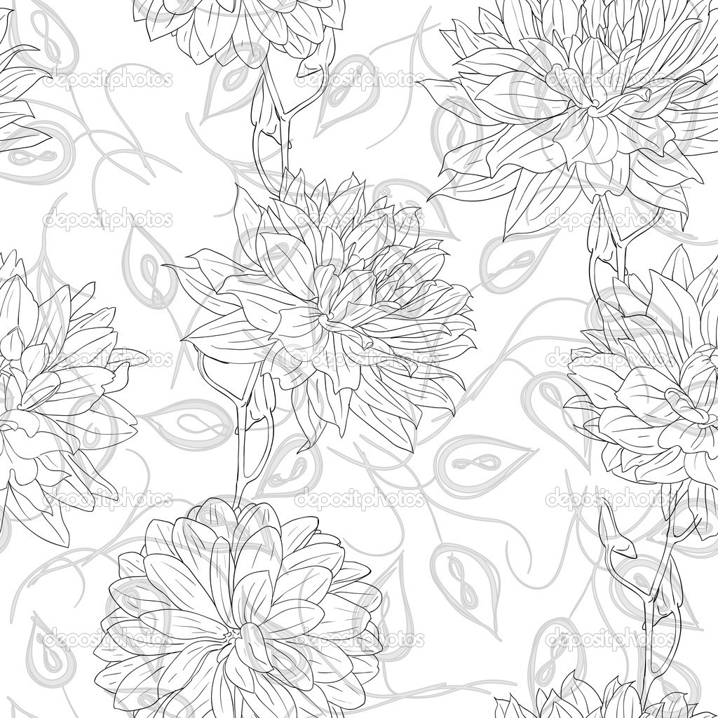 Drawn wallpaper line drawing Floral of WallpaperSafari Stock different