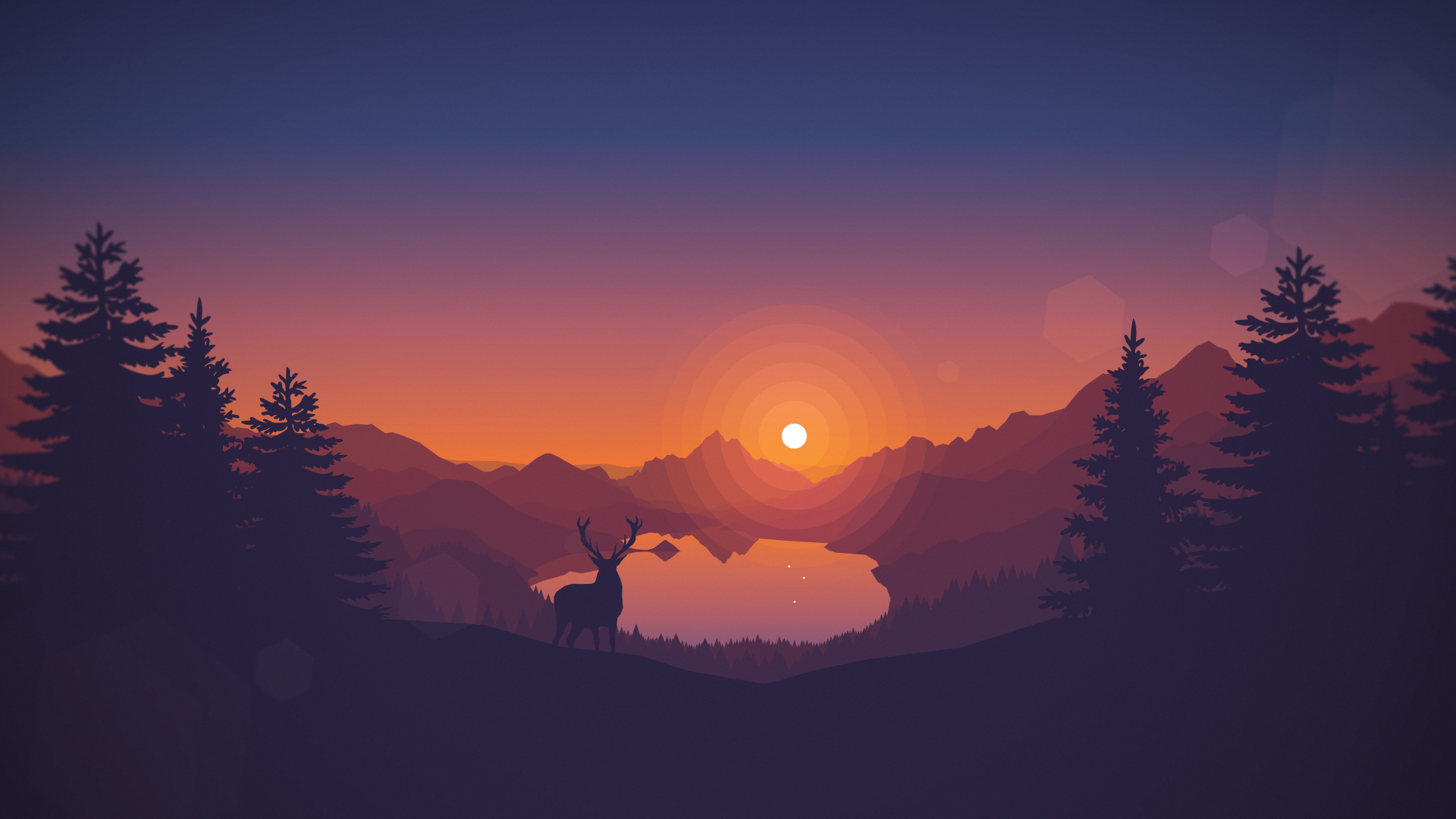 Drawn wallpaper silhouette Artwork #lake #animals #landscape nature