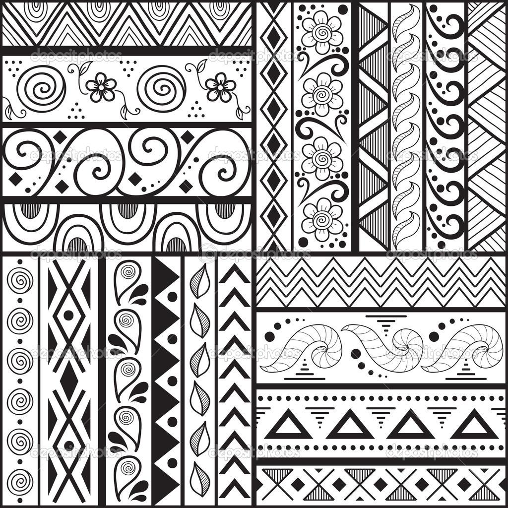 Drawn wallpaper simple drawing Tribal striped pattern striped Stock