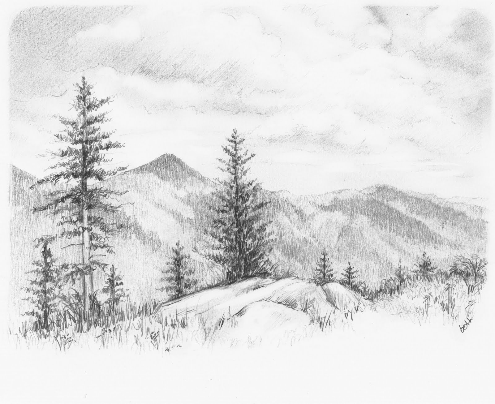 Drawn background drawing nature Of Drawings Scenes of Pencil