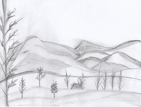 Drawn wallpaper simple drawing Mountains Mountains Before Hand Drawn