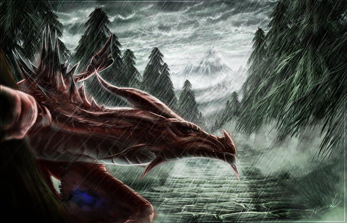 Drawn wallpaper skyrim Winged by Skyrim Snow by