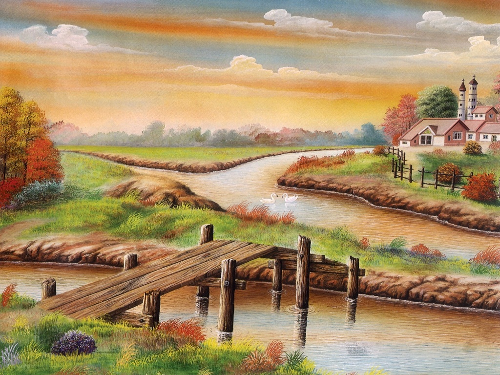 Drawn scenery beautiful village scenery Of Wallpaper Sketch Poster Wallpapers