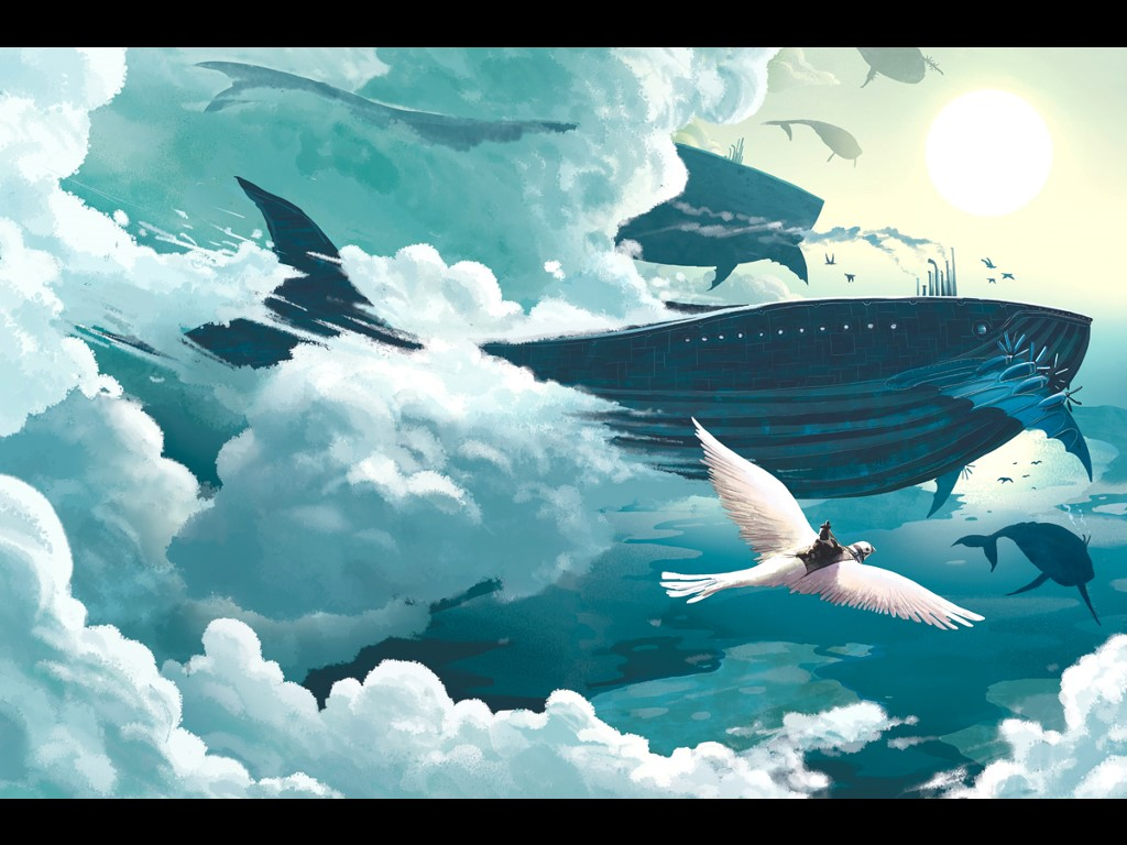 Drawn wallpaper whale  flying Google Search whale