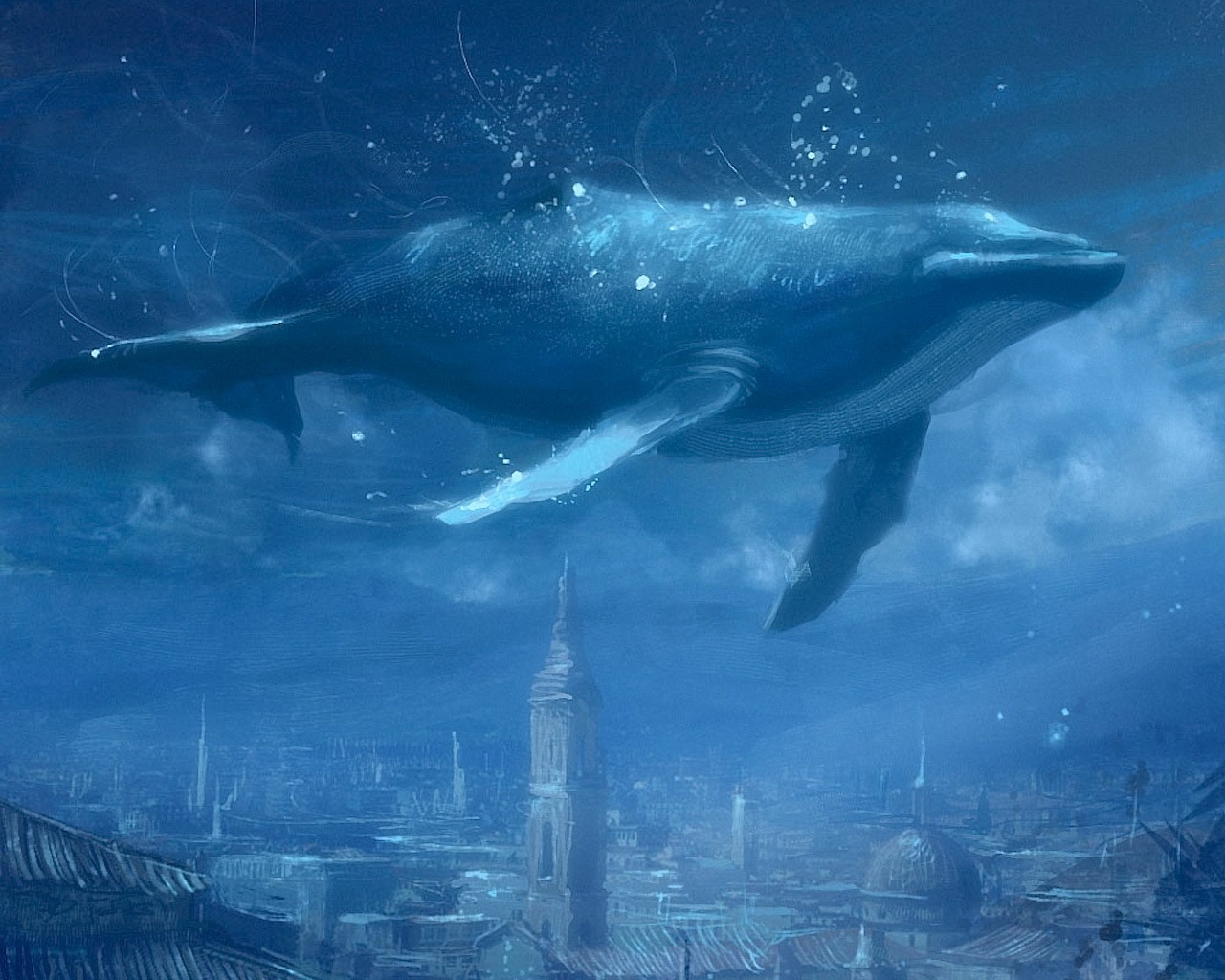 Drawn wallpaper whale The Drawing Blue 156 156