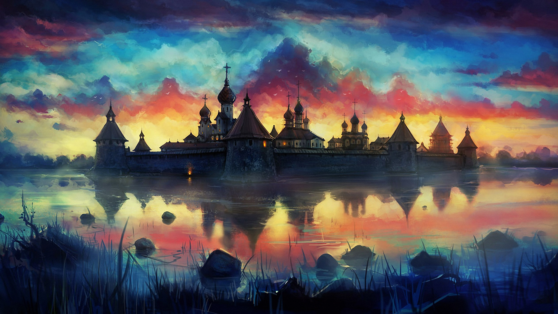 Drawn wallpaper widescreen  Monastery monastery Download 1920x1080