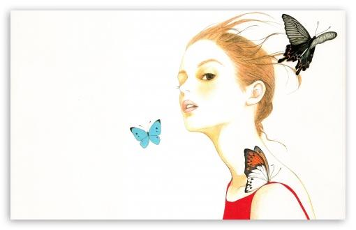 Drawn wallpaper widescreen : Girl HD Download Fullscreen