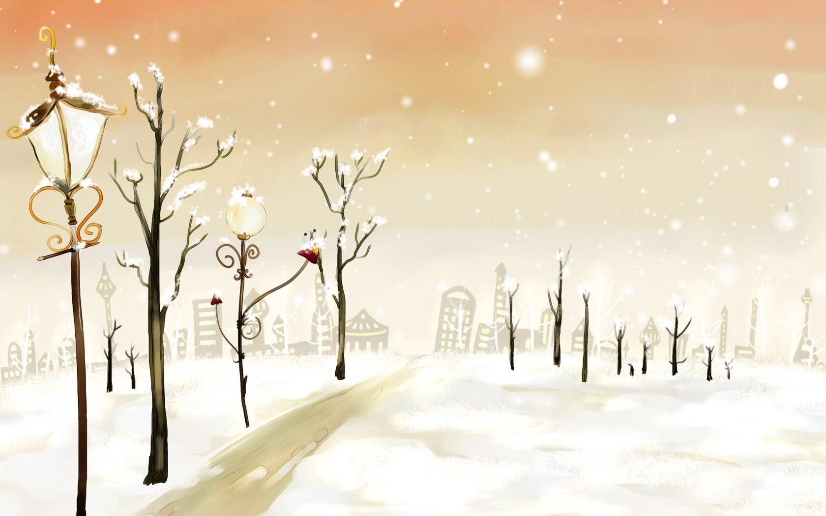 Drawn wallpaper winter Snow Drawing Winter 1680x1050 Snow
