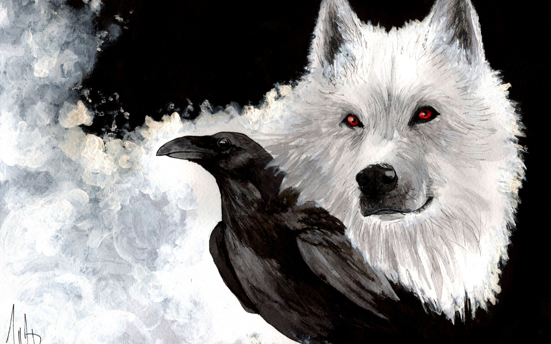 Drawn raven snow And  and White wallpapers