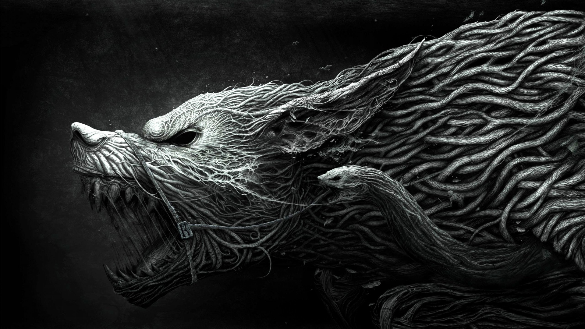 Drawn wallpaper wolf Wolf HD Preview black aggression
