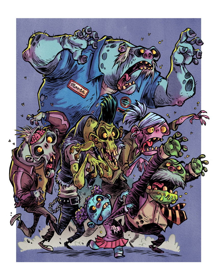 Drawn wallpaper zombie Horde drawing Drawing Cartoon More