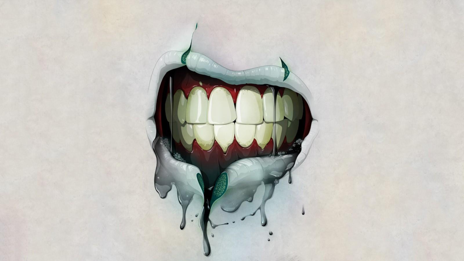 Drawn wallpaper zombie 91378 1600x900 Zombie  Mouth
