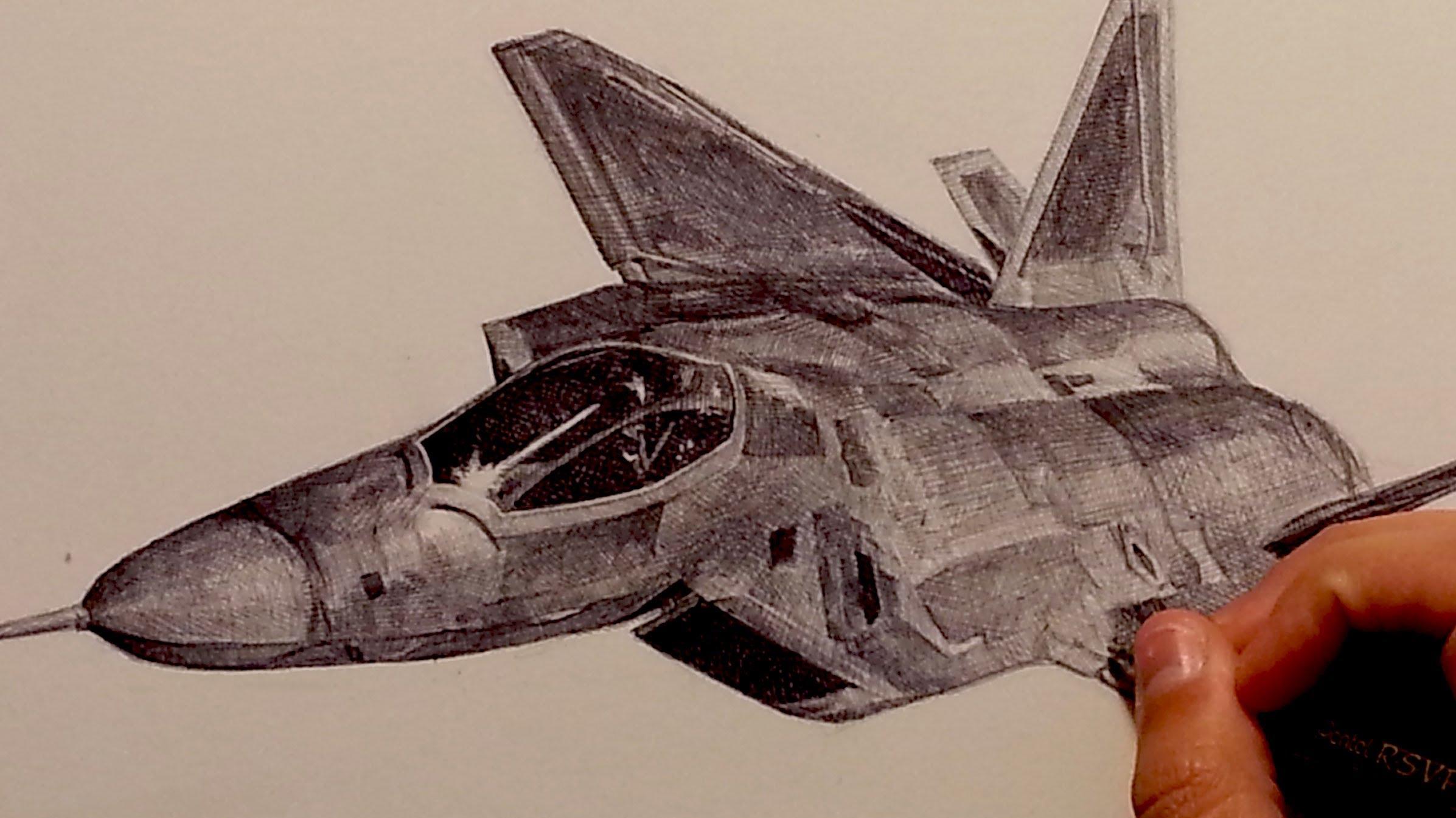 Drawn wars plane Drawing Raptor Fighter Pen