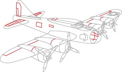 Drawn airplane line drawing Missing Detail rectangle rectangles War