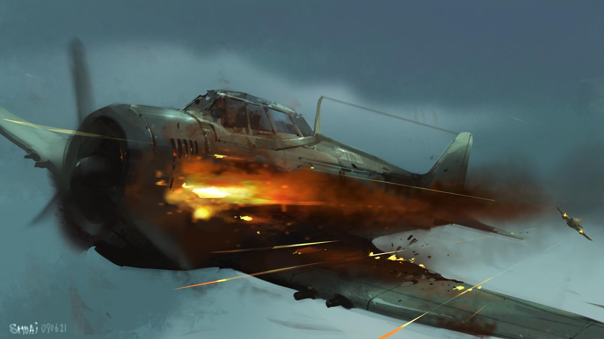Drawn aircraft ww2 airplane Military Airplane military 1920x1080 WallpaperUP