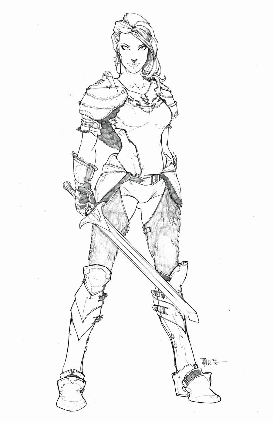 Drawn warrior Warrior Warrior Realistic Image Girl