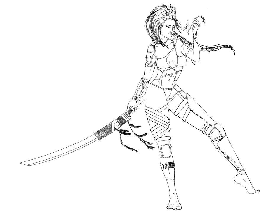 Drawn warrior Warrior Warrior Realistic Pic Girl