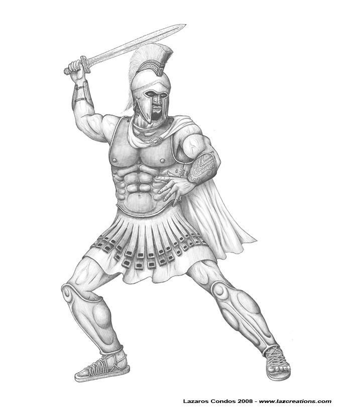 Drawn warrior Spartan Spartan by by Warrior
