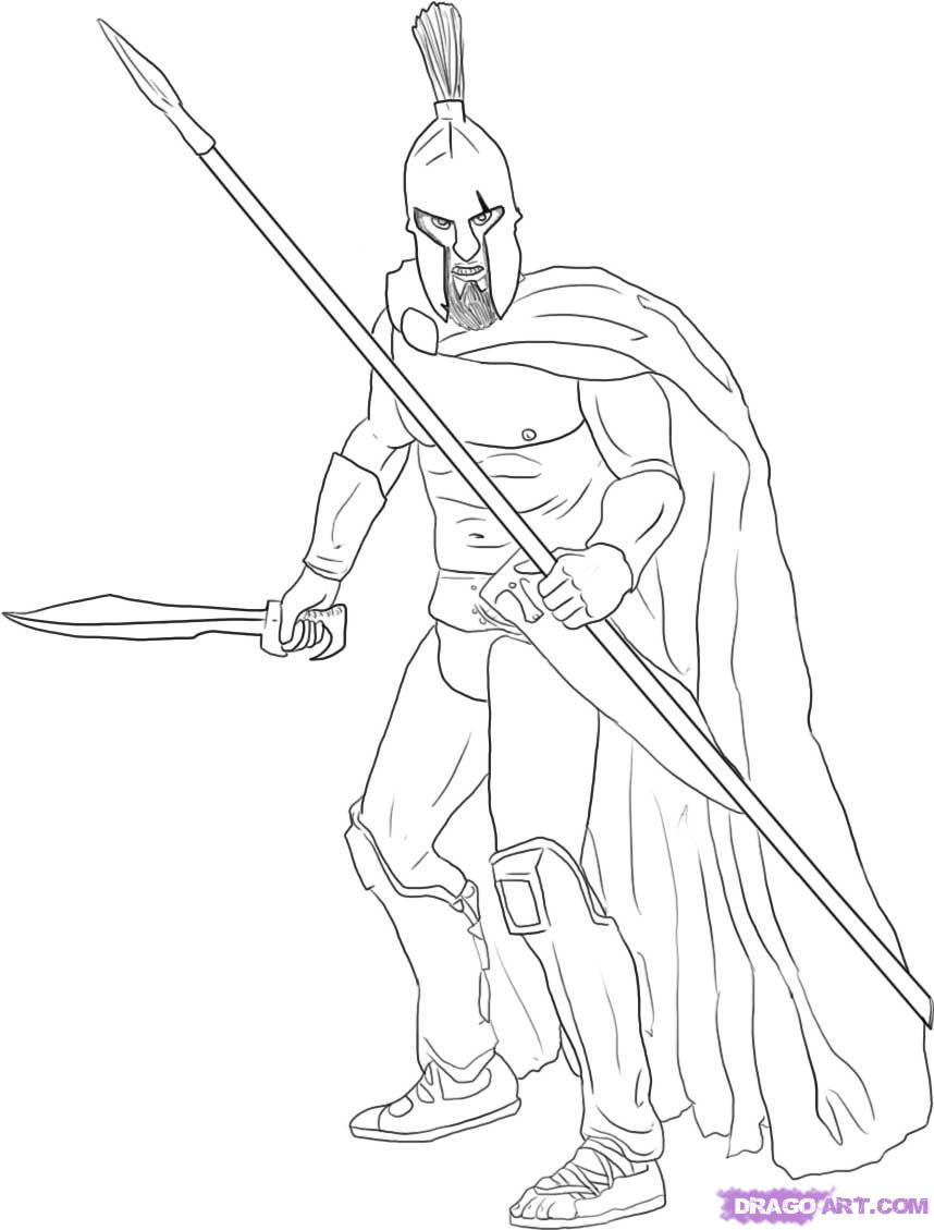 Drawn warrior Spartan how a Step step