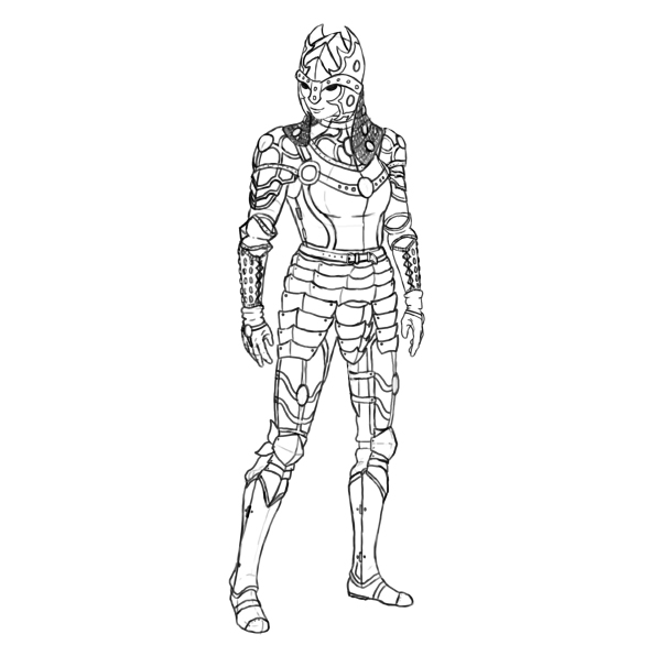 Drawn warrior Functional draw Draw Realistic armor