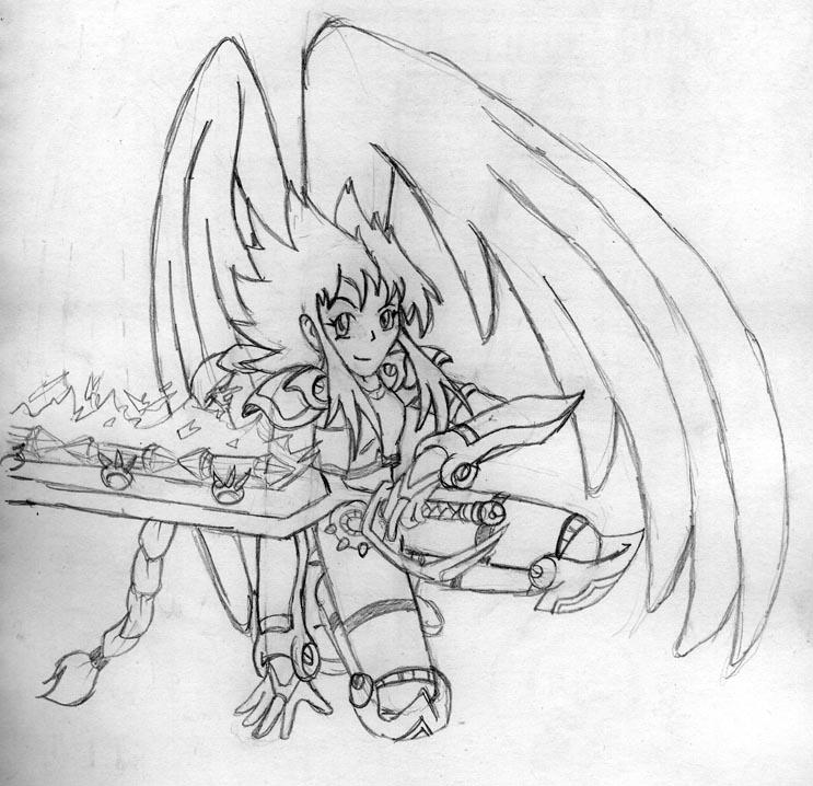Drawn warrior anime Warrior anime angel angel warrior