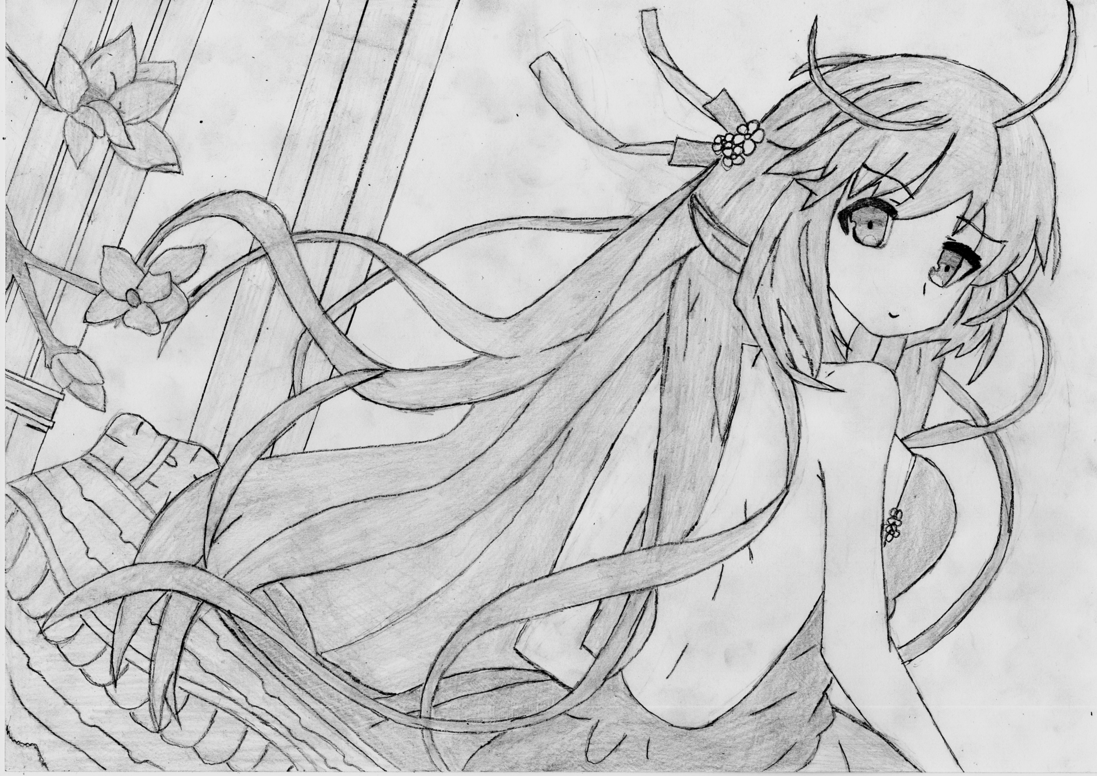 Drawn warrior anime Drawing Anime girl girl drawing