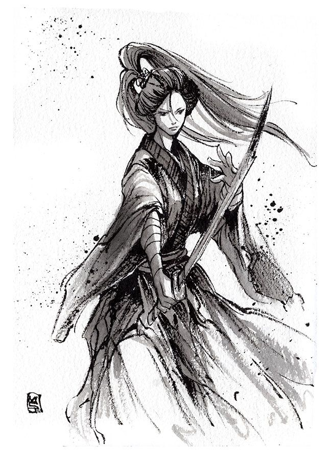 Drawn warrior anime samurai By on Katana girl WarriorArm