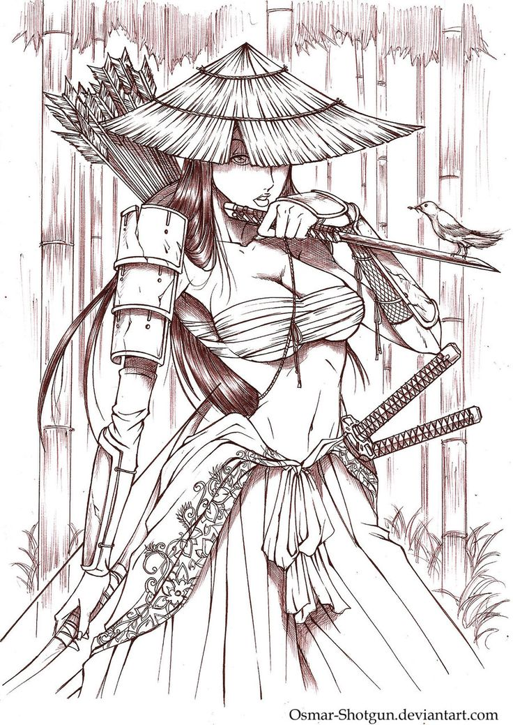 Drawn samurai anime samurai Shotgun Anime Samurai Female Pinterest