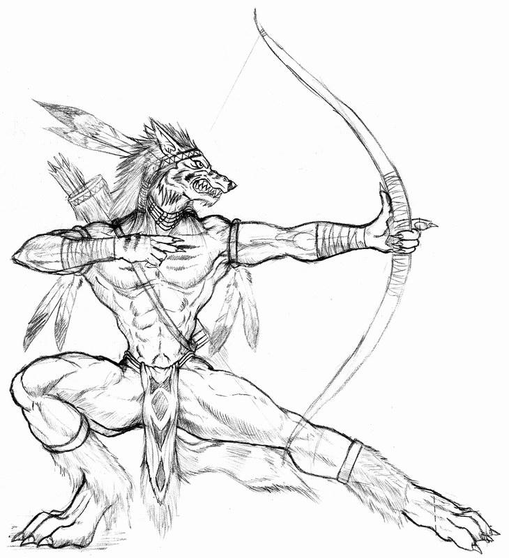 Drawn werewolf warrior On archer WolfLSI archer