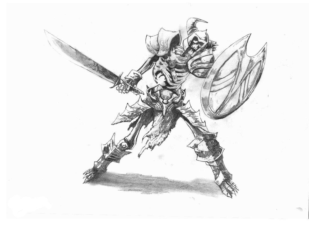 Drawn skeleton skeleton warrior By Strunzi on Skeleton Skeleton