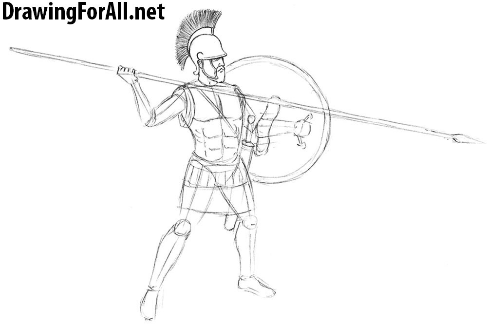 Drawn warrior athenian Warrior to draw DrawingForAll how