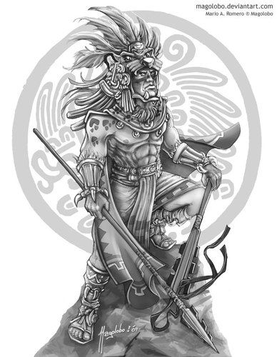 Drawn samurai mayan woman Aztec warrior Aztec one ancient