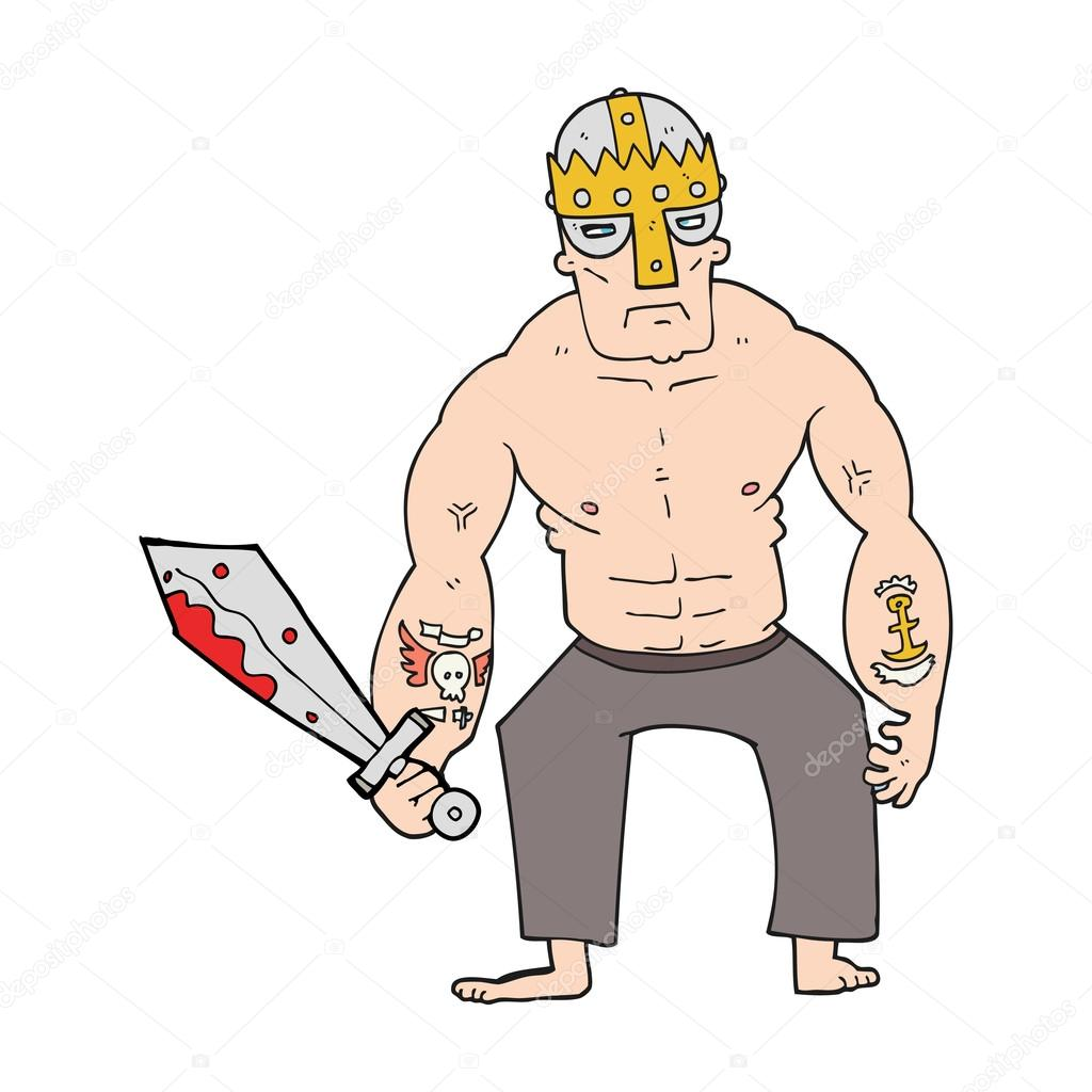 Drawn warrior cartoon  with Vector Freehand warrior