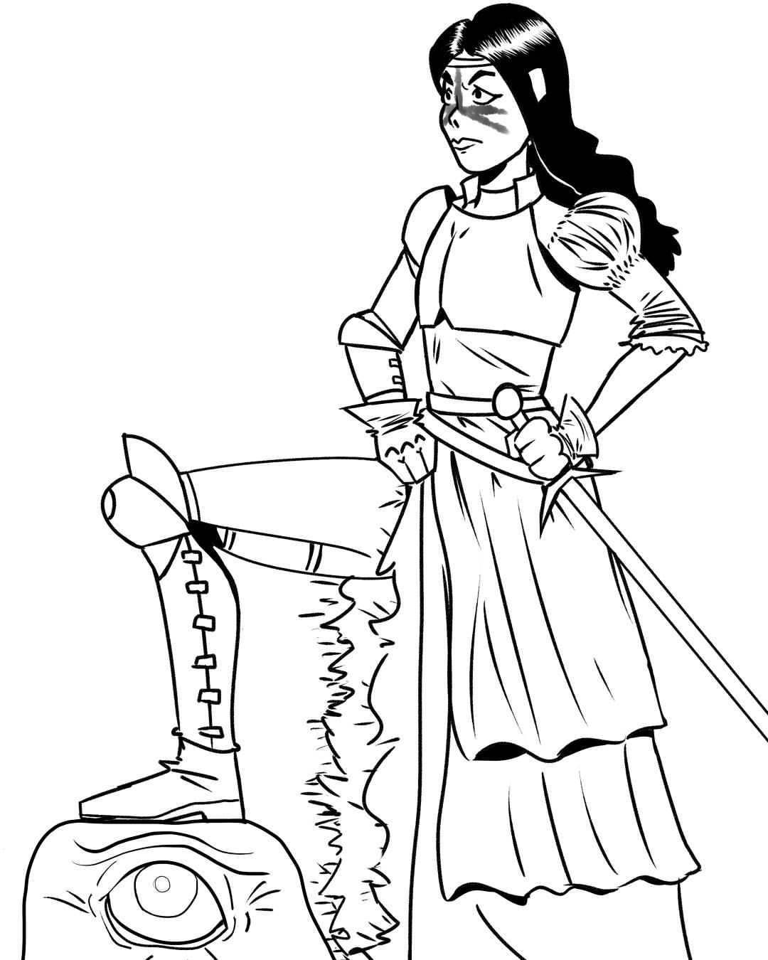 Drawn warrior cyclop # #comics ½ Line art