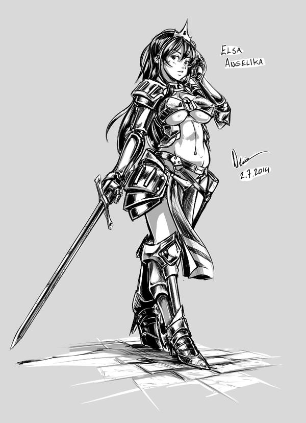 Drawn warrior dark Angelika Female Angelika by Livestreams: