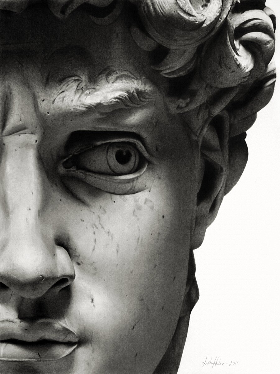 Drawn warrior david sculpture La Face in The Michelangelo