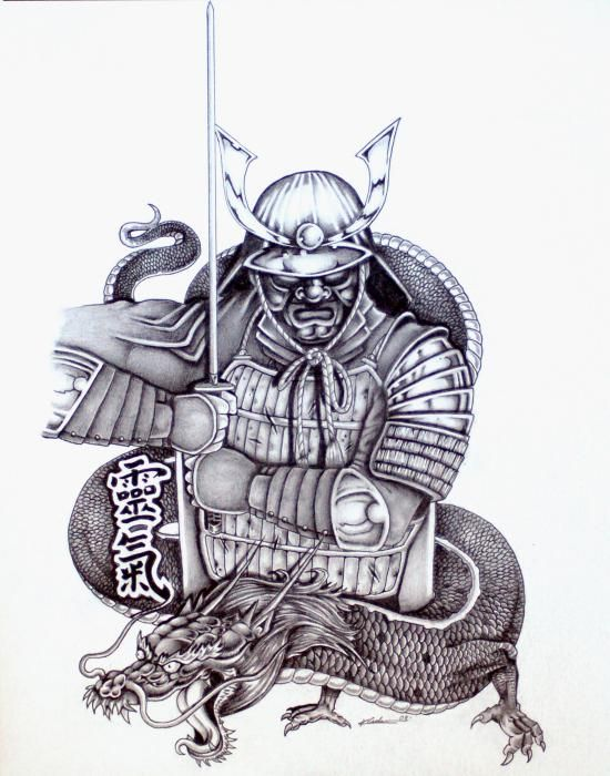 Drawn warrior demon Tattoo Japanese Tattoos Samurai tattoo