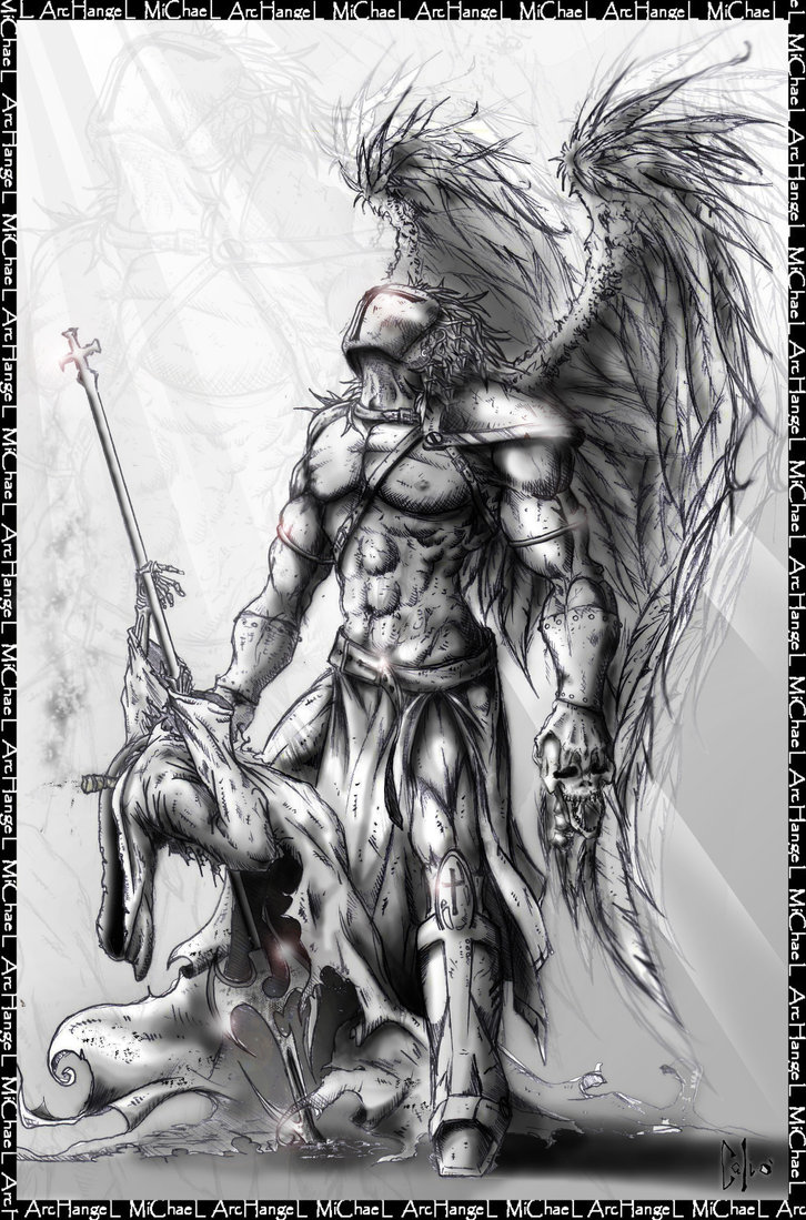Drawn warrior demon Tattoo warrior Search archangel archangel