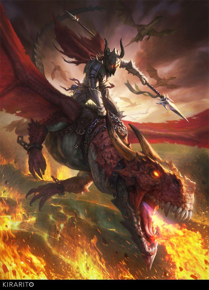 Drawn warrior dragon rider Exiled rider about Elves Dark