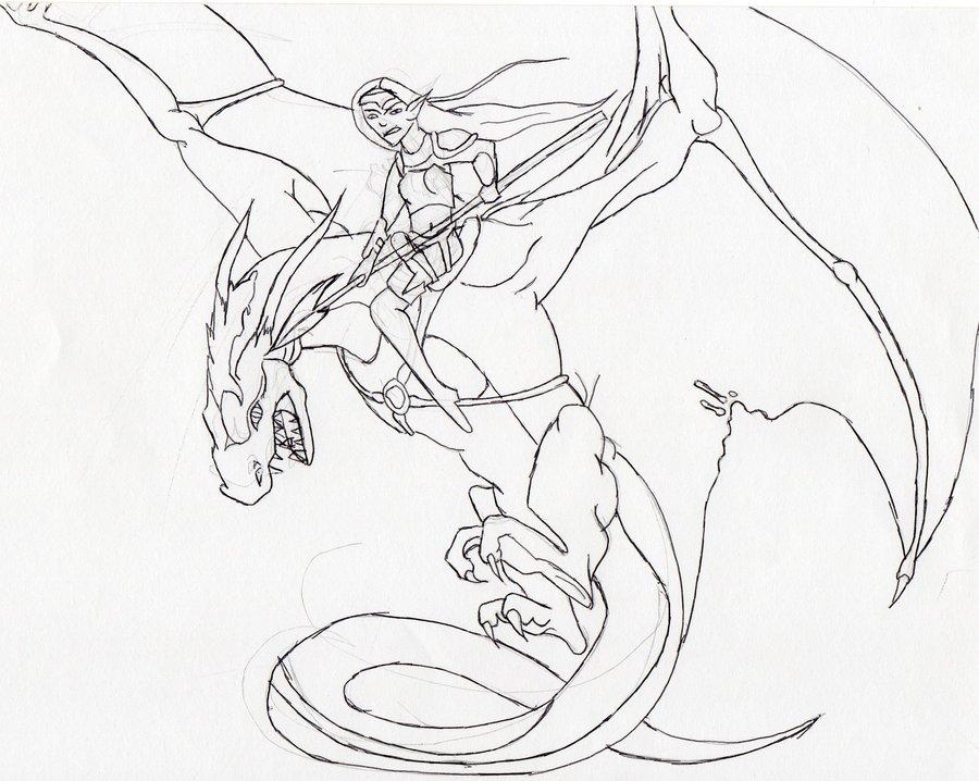 Drawn warrior dragon rider A Dani riding Dragon a