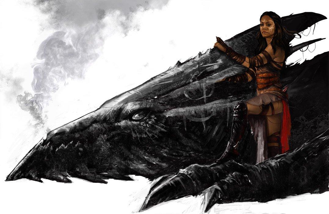 Drawn warrior dragon rider Rider fantasy Dragon warrior female