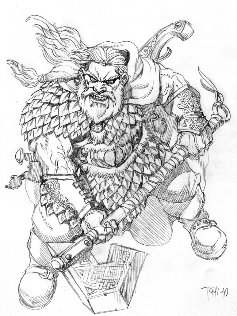 Drawn dwarf barbarian warrior Dunbar deviantart Dragonslayer coloring DeviantArt