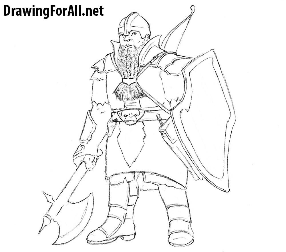 Drawn dwarf sketch To a and net Warrior
