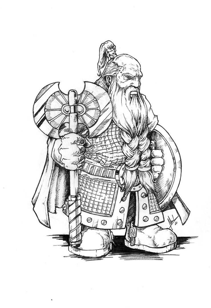 Drawn dwarf sketch Serious Golgrim A the part
