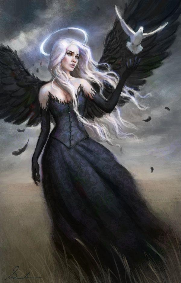 Drawn warrior female angel death On images 212 Pinterest ángeles